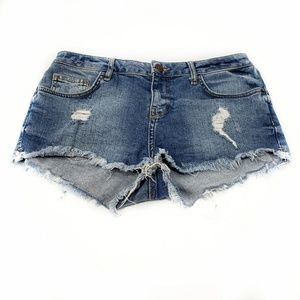 Topshop Cutoff Jean Shorts Blue Distressed